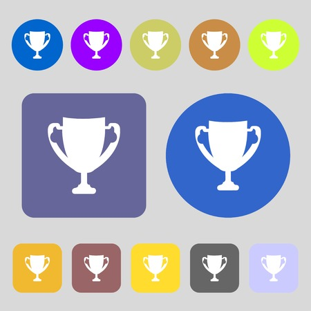 awarding: Winner cup sign icon. Awarding of winners symbol. Trophy.12 colored buttons. Flat design. illustration