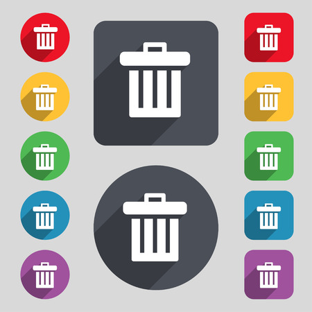 garbage tank: Recycle bin icon sign. A set of 12 colored buttons and a long shadow. Flat design. illustration