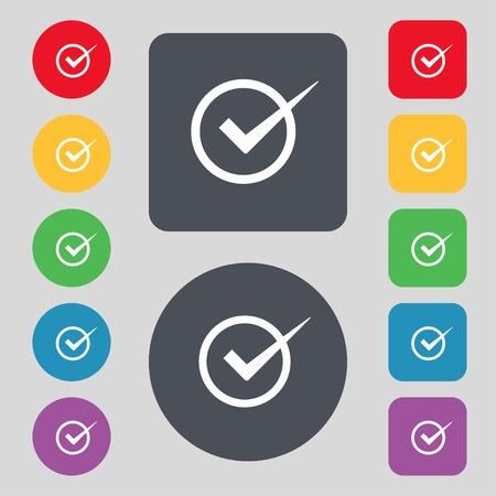 check mark sign: Check mark sign icon. Checkbox button. Set colur buttons. illustration