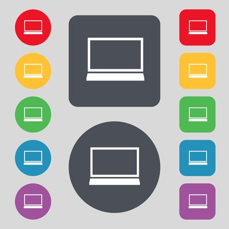 ultrabook: Laptop sign icon. Notebook pc symbol. Set colur buttons. illustration
