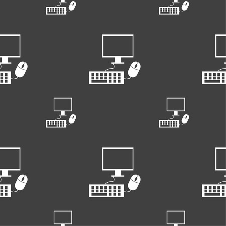 keyboard and mouse: Computer widescreen monitor, keyboard, mouse sign icon. Seamless pattern on a gray background. illustration