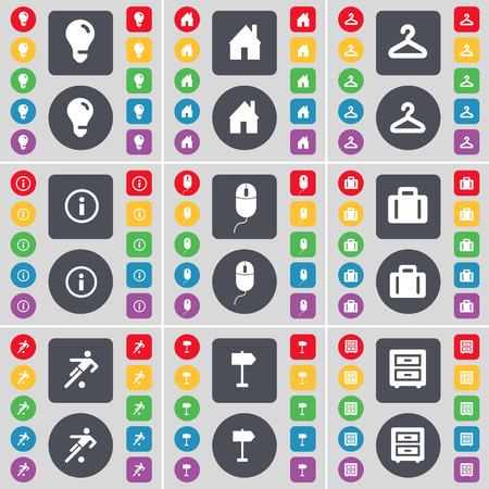 bedtable: Light bulb, House, Hanger, Information, Mouse, Suitcase, Silhouette, Signpost, Bed-table icon symbol. A large set of flat, colored buttons for your design. illustration