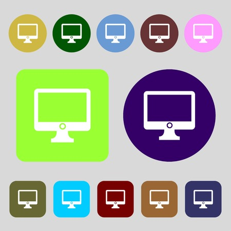 widescreen: Computer widescreen monitor sign icon.12 colored buttons. Flat design. illustration
