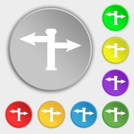 blank road sign: Blank Road Sign icon sign. Symbols on eight flat buttons. illustration