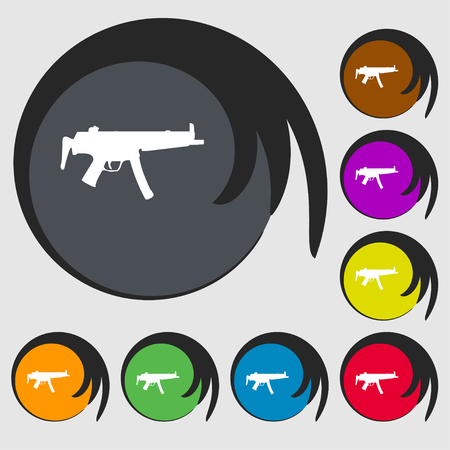 large group of object: machine gun icon sign. Symbol on eight colored buttons. illustration