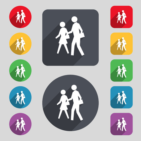 crosswalk: crosswalk icon sign. A set of 12 colored buttons and a long shadow. Flat design. illustration