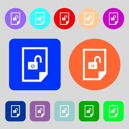 locked icon: File locked icon sign.12 colored buttons. Flat design. illustration