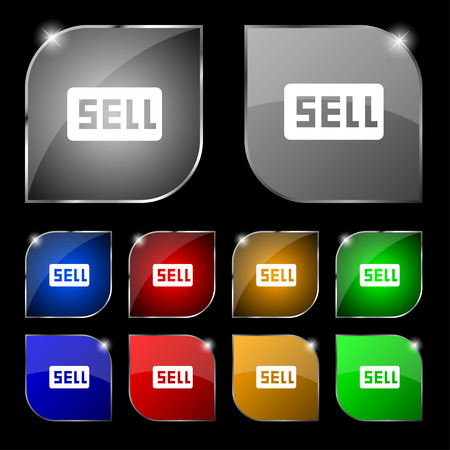 contributor: Sell, Contributor earnings icon sign. Set of ten colorful buttons with glare. illustration Stock Photo