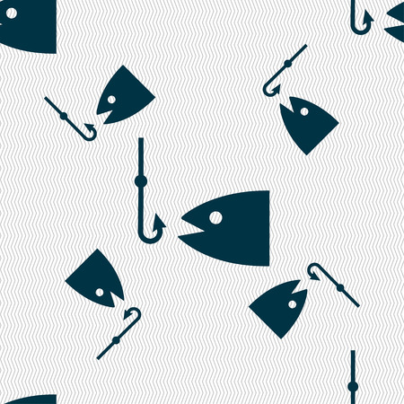 floater: Fishing icon sign. Seamless pattern with geometric texture. illustration