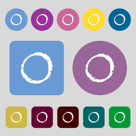 number zero: number zero icon sign.12 colored buttons. Flat design. illustration Stock Photo