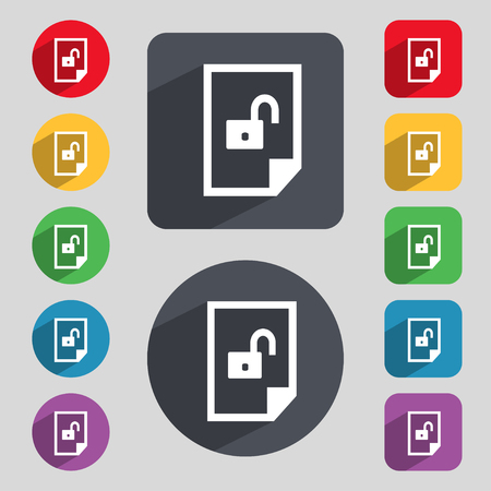secrecy: File unlocked icon sign. Set of coloured buttons. illustration Stock Photo