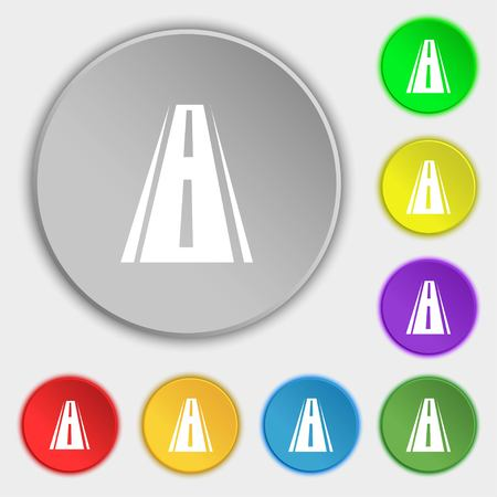 bitumen: Road icon sign. Symbols on eight flat buttons. illustration Stock Photo