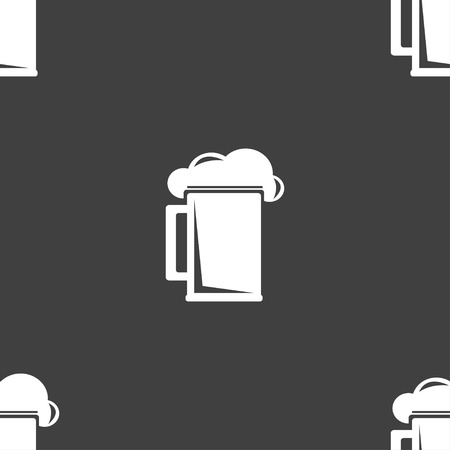 guinness: glass of beer icon sign. Seamless pattern on a gray background. illustration