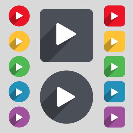 long play: play icon sign. A set of 12 colored buttons and a long shadow. Flat design. illustration
