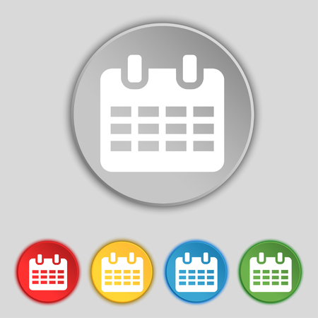 reminder icon: Calendar, Date or event reminder icon sign. Symbol on five flat buttons. illustration