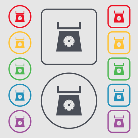grams: kitchen scales icon sign. Symbols on the Round and square buttons with frame. illustration
