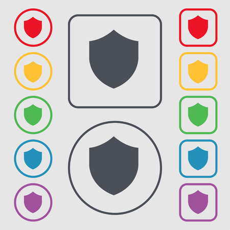 security token: Shield, Protection icon sign. symbol on the Round and square buttons with frame. illustration Stock Photo