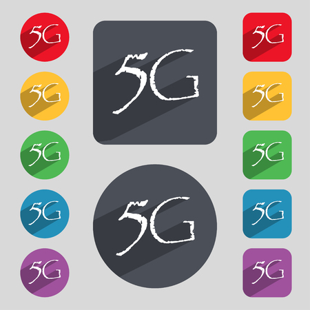 telecommunications: 5G sign icon. Mobile telecommunications technology symbol. Set of colour buttons. illustration