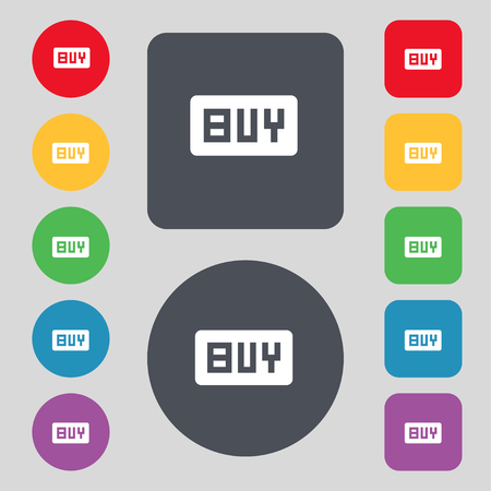 usd: Buy, Online buying dollar usd icon sign. A set of 12 colored buttons. Flat design. illustration