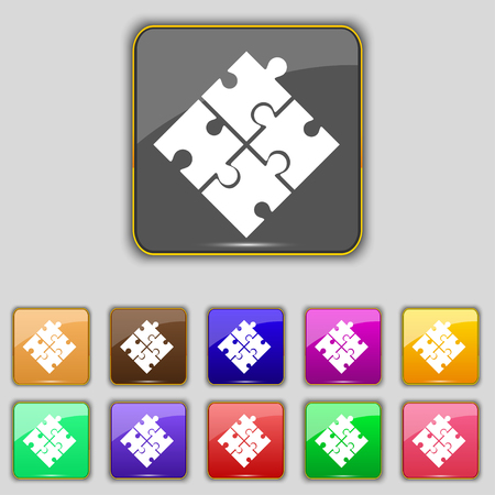 eleven: Puzzle piece icon sign. Set with eleven colored buttons for your site. illustration Stock Photo