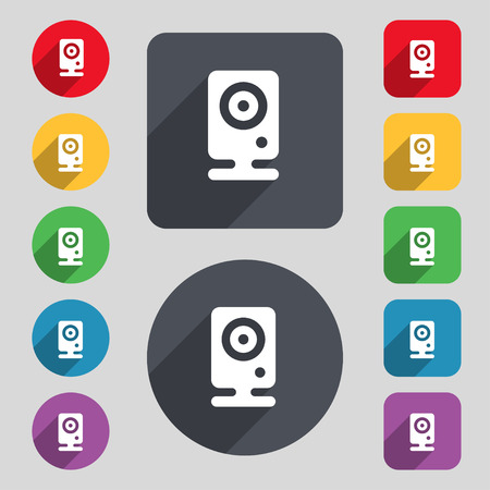 web cam: Web cam icon sign. A set of 12 colored buttons and a long shadow. Flat design. illustration