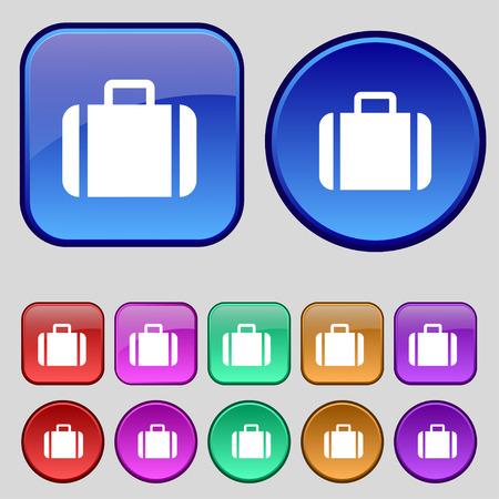 suit case: Suitcase icon sign. A set of twelve vintage buttons for your design. illustration