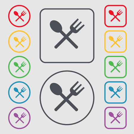 crosswise: Fork and spoon crosswise, Cutlery, Eat icon sign. symbol on the Round and square buttons with frame. illustration Stock Photo