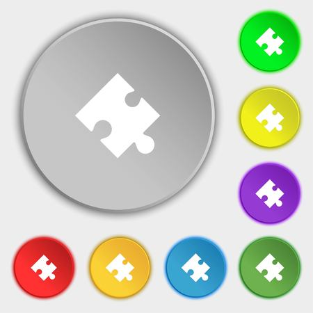 conundrum: Puzzle piece icon sign. Symbols on eight flat buttons. illustration Stock Photo