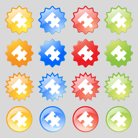 puzzle corners: Puzzle piece icon sign. Big set of 16 colorful modern buttons for your design. illustration