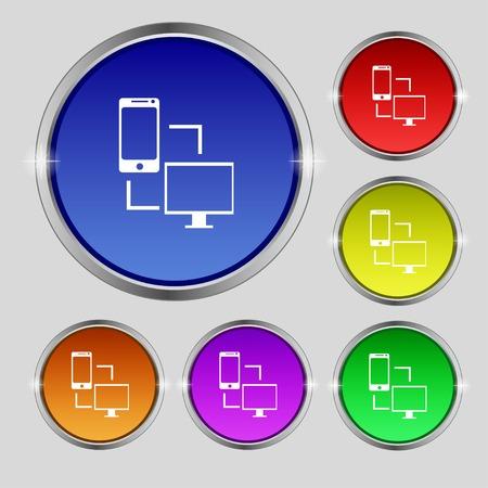 synchronization: Synchronization sign icon. communicators sync symbol. Data exchange. Set colur buttons illustration