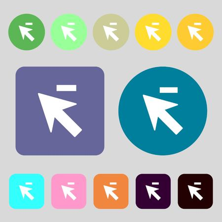 cursor arrow: Cursor, arrow minus icon sign.12 colored buttons. Flat design. illustration