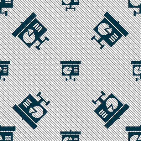 grow money: Graph icon sign. Seamless pattern with geometric texture. illustration