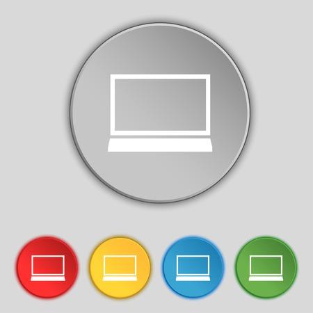 ultrabook: Laptop sign icon. Notebook pc symbol. Set colur buttons. illustration