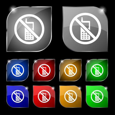 cell phones not allowed: mobile phone is prohibited icon sign. Set of ten colorful buttons with glare. illustration Stock Photo
