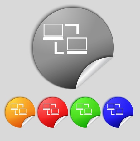 synchronization: Synchronization sign icon. Notebooks sync symbol. Data exchange. Set colur buttons illustration