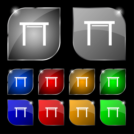 stool: stool seat icon sign. Set of ten colorful buttons with glare. illustration