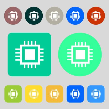 transistor: Central Processing Unit Icon. Technology scheme circle symbol.12 colored buttons. Flat design. illustration
