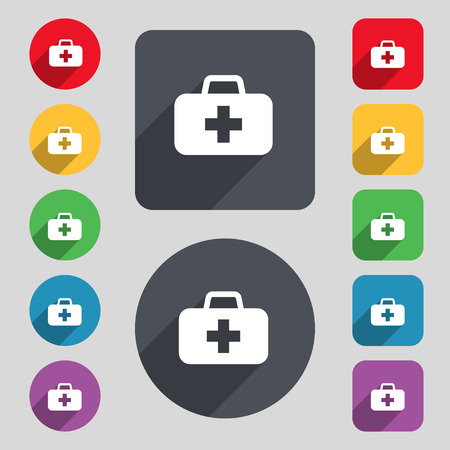 medicine chest: medicine chest icon sign. A set of 12 colored buttons and a long shadow. Flat design. illustration Stock Photo