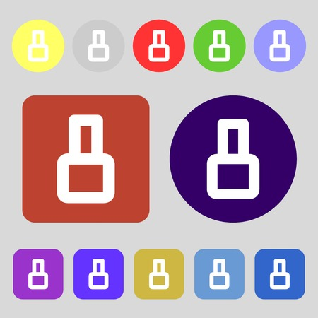 number eight: number Eight icon sign.12 colored buttons. Flat design. illustration