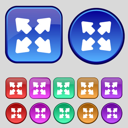 minimize: Deploying video, screen size icon sign. A set of twelve vintage buttons for your design. illustration