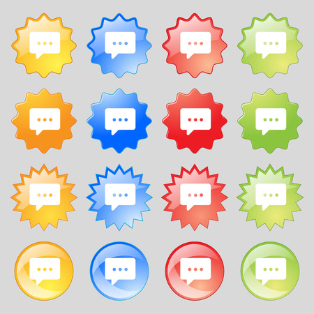 halfone: Cloud of thoughts icon sign. Set from fourteen multi-colored glass buttons with place for text. illustration