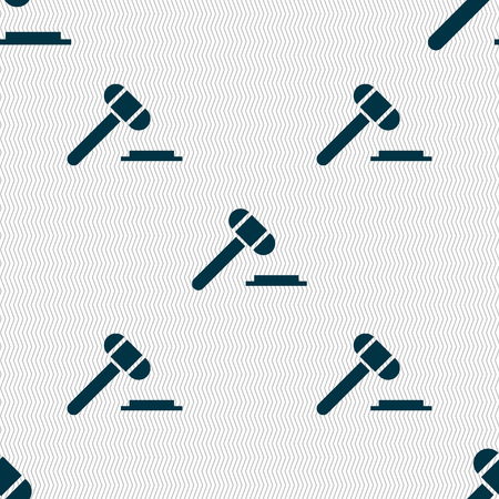 arbitrate: judge hammer icon. Seamless abstract background with geometric shapes. illustration Stock Photo