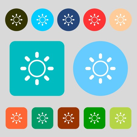 brightness: Brightness icon sign.12 colored buttons. Flat design. illustration