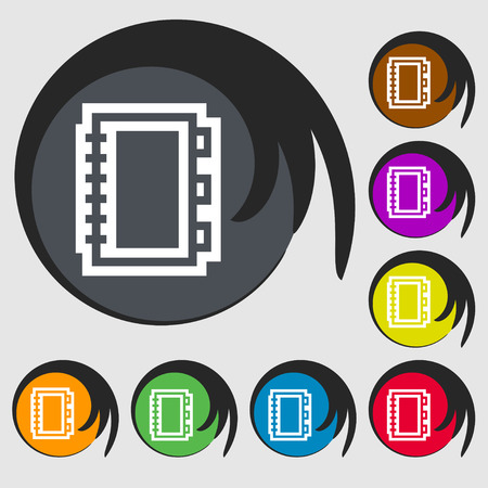 epublishing: Book icon sign. Symbol on eight colored buttons. illustration Stock Photo