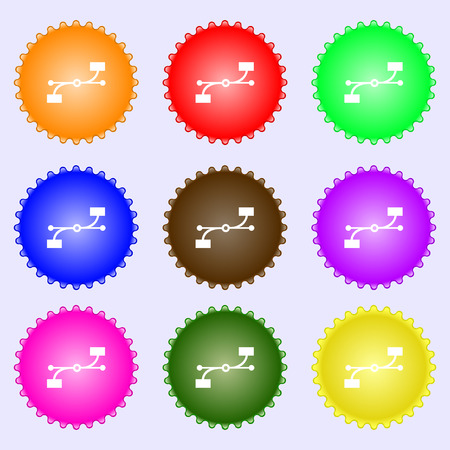 bezier: Bezier Curve icon sign. A set of nine different colored labels. illustration