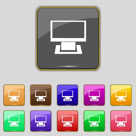 widescreen: Computer widescreen monitor sign icon. Set colourful buttons. Modern UI website navigation.