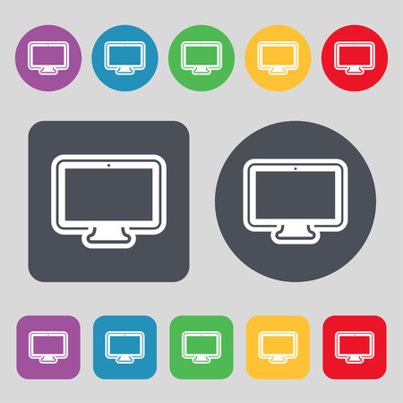 oled: monitor icon sign. A set of 12 colored buttons. Flat design. illustration