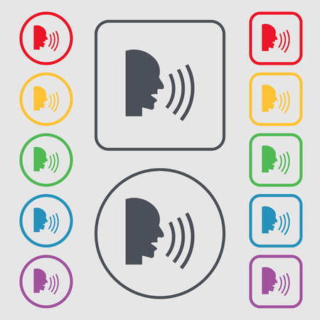 aloud: Talking Flat modern web icon. Symbols on the Round and square buttons with frame. illustration
