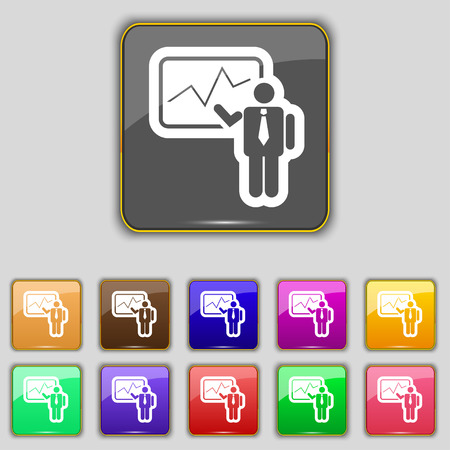 sign making: businessman making report icon sign. Set with eleven colored buttons for your site. illustration Stock Photo