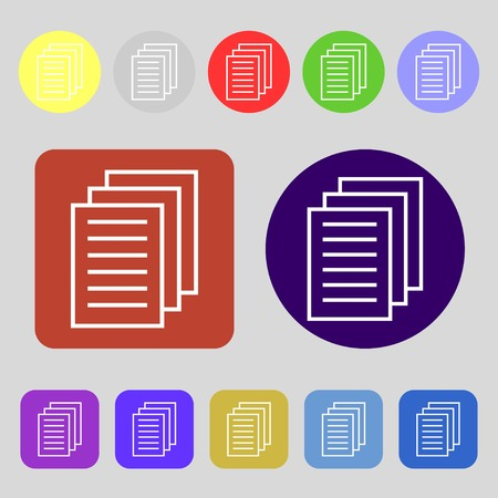 duplicate: Copy file sign icon. Duplicate document symbol.12 colored buttons. Flat design. illustration Stock Photo